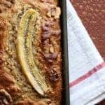 Banana Walnut Bread | a healthier banana bread! Yogurt, whole grains, protein and fiber with less sugar and fat. www.LiveBest.info