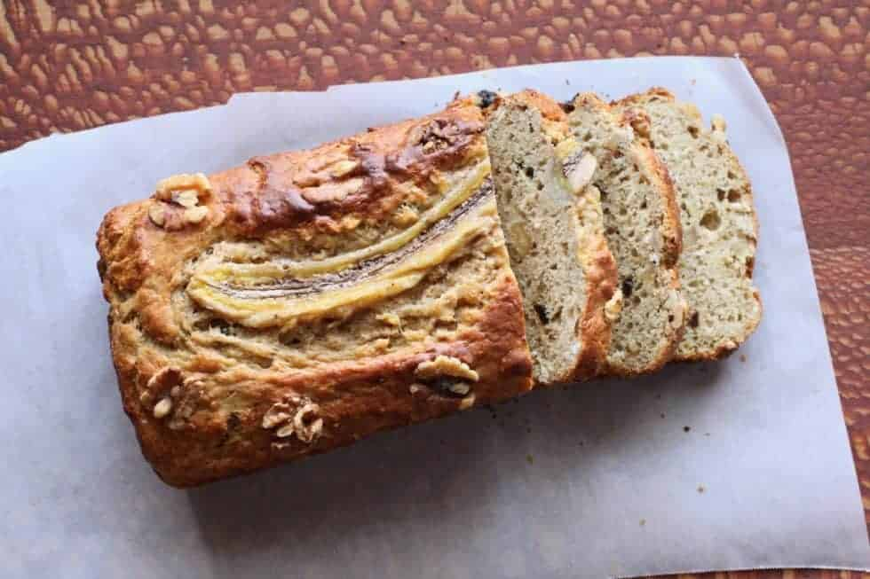 Banana Walnut Bread | a healthier banana bread! Yogurt, wholegrains, protein and fiber with less sugar and fat! www.LiveBest.info