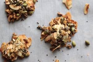 coconut seed clusters on parchment paper