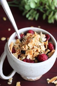 Coconut Seed Clusters in a cup of cottage cheese and raspberries
