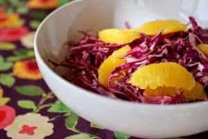 Orange Cabbage Slaw is a bowl