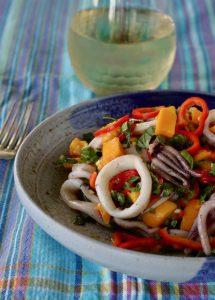 Grilled Squid Mango Salad