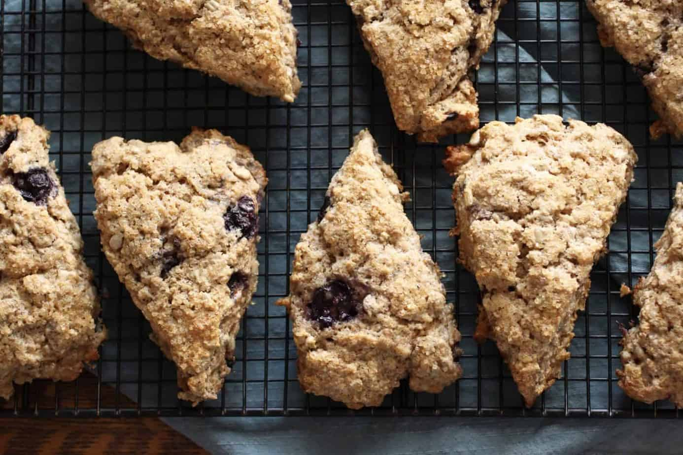 Blueberry Ginger Spelt Scones cooling on a rack