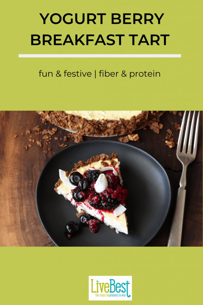 slice of yogurt tart with berries on top
