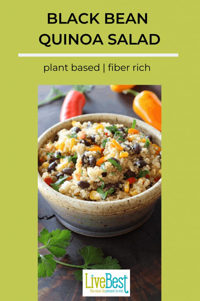 pinterest image of bowl with black bean quinoa salad