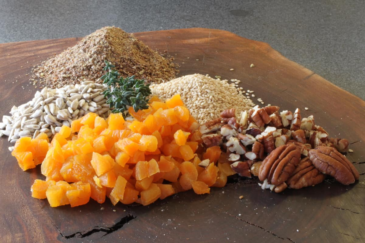 dries apricots, pecans, flax, herbs