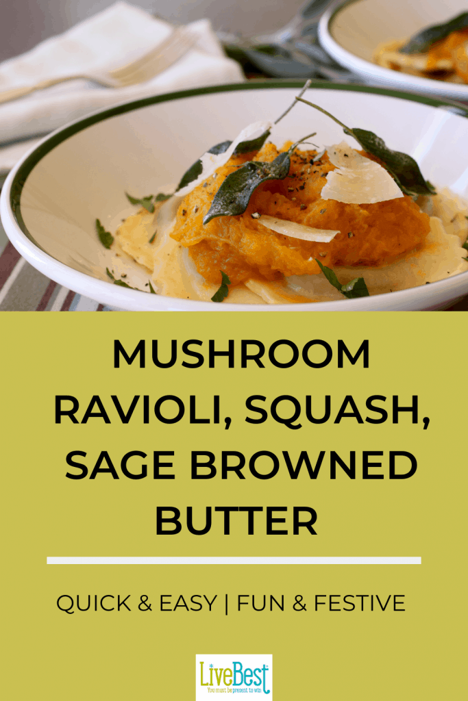 bowl of ravioli topped with squash and fried sage leaves