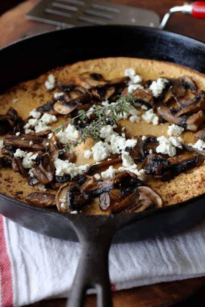 photo image mushroom goat cheese dutch baby