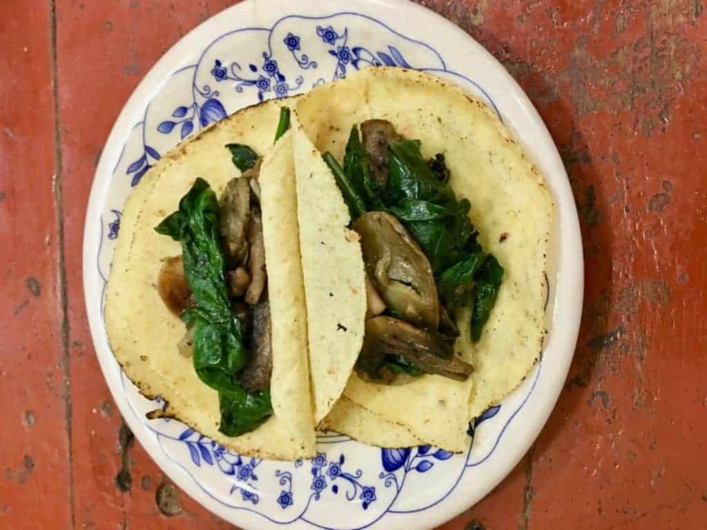 Plate of 2 Mushroom Spinach Tacos