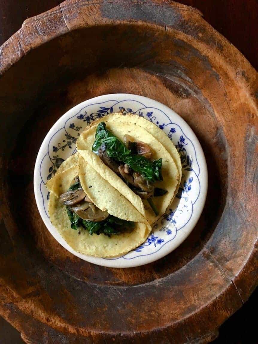 Mushroom Spinach tacos on a plate