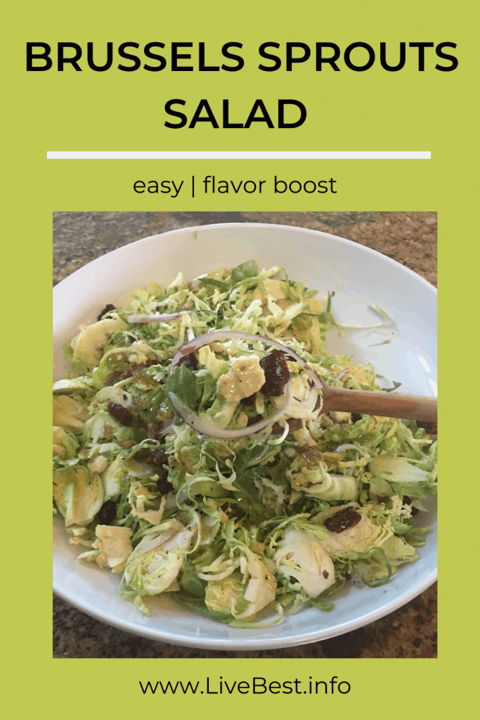 shaved Brussels sprouts with cranberries, blue cheese, red onion slices