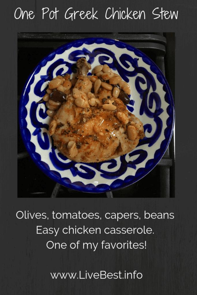 plate of greek chicken stew