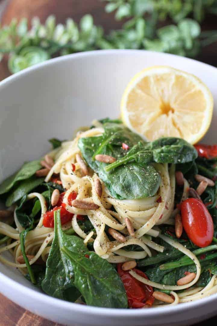 linguini with blistered tomatoes and spinach