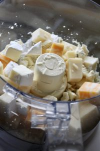 cubes of cheese in a food processor