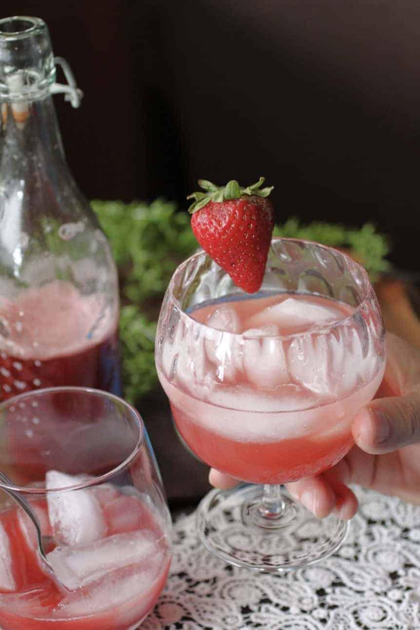 Strawberry Rhubarb mocktail glass