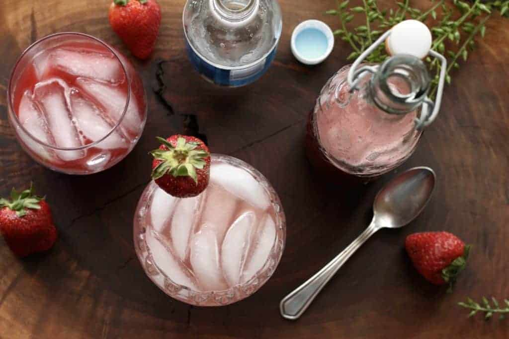 strawberry rhubarb syrup with club soda drink