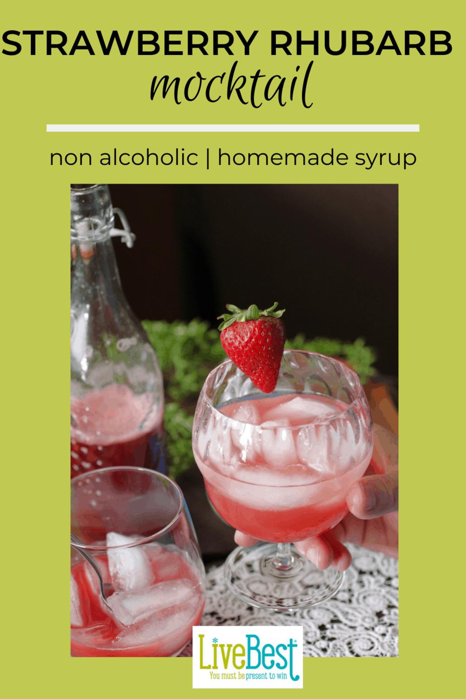 strawberry rhubarb mocktail in a glass
