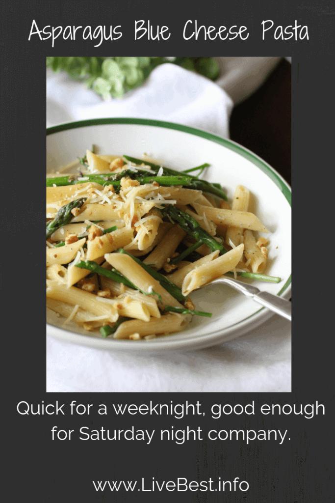 bowl of asparagus blue cheese pasta