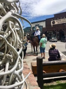 Jackson Wyoming town square sheriff on horseback
