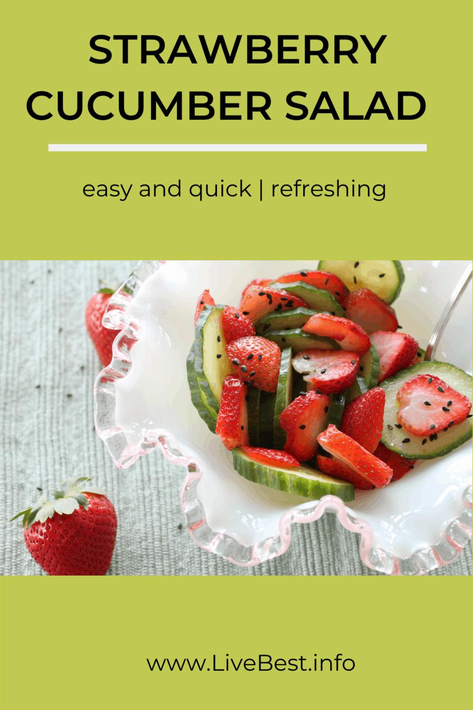 Sliced strawberries and cumbers sprinkled with black sesame seeds