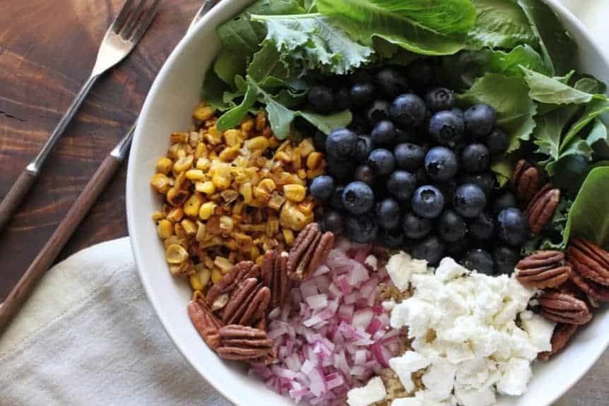 quinoa, blueberry, corn, pecan salad