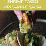 hand holding a shrimp taco with pineapple salsa