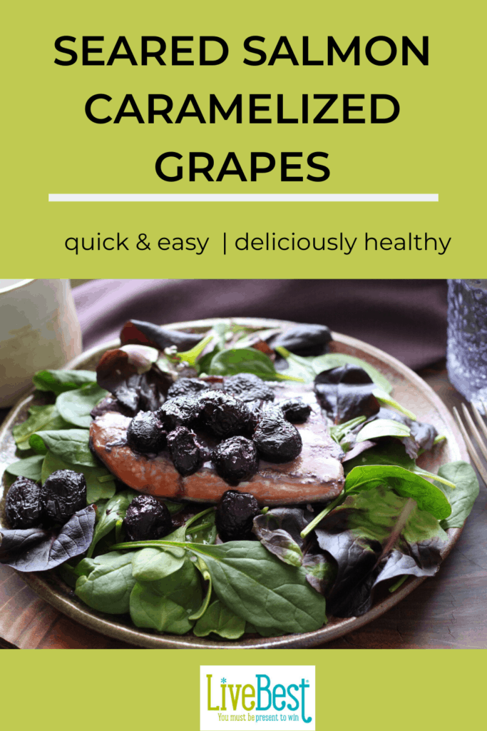 Salmon salad with roasted grapes