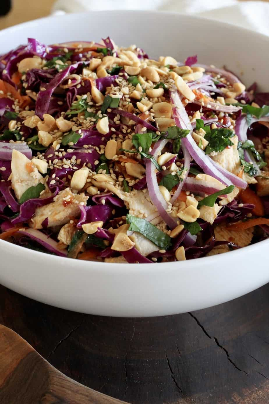 bowl of red cabbage, carrots and chicken slaw