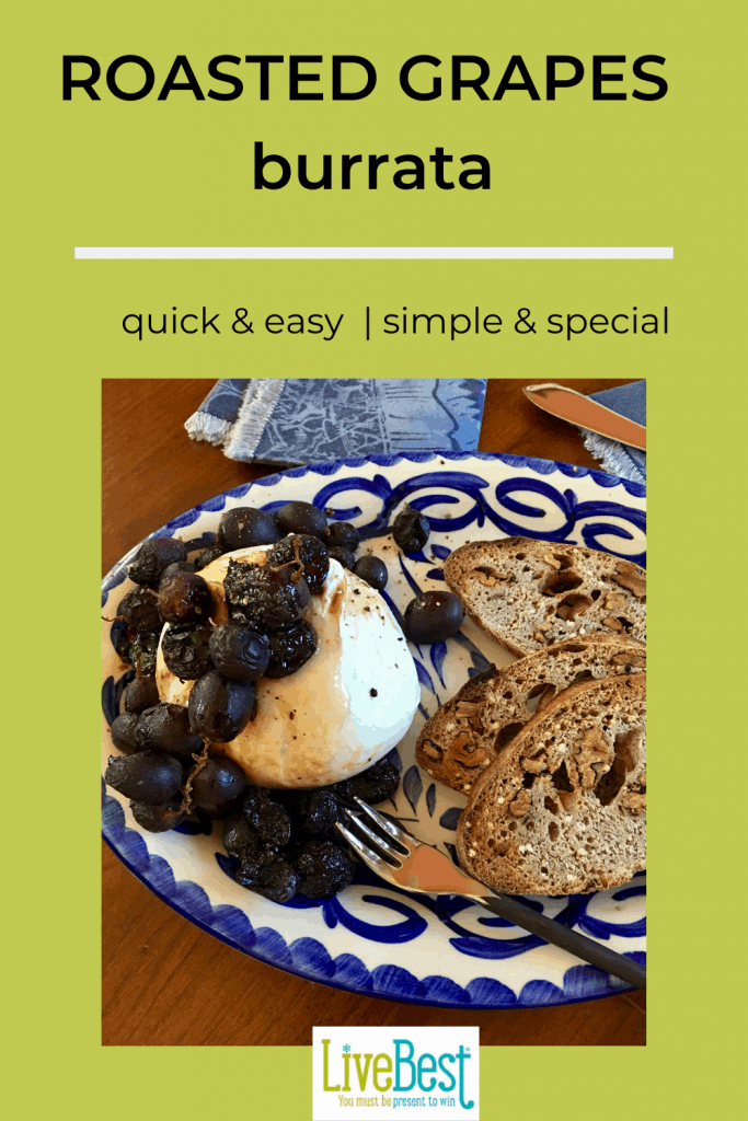 burrata cheese topped with roasted grapes