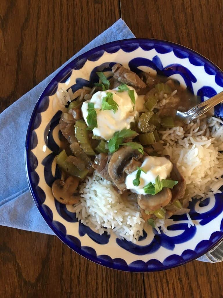 bowl of beef stroganoff and rice