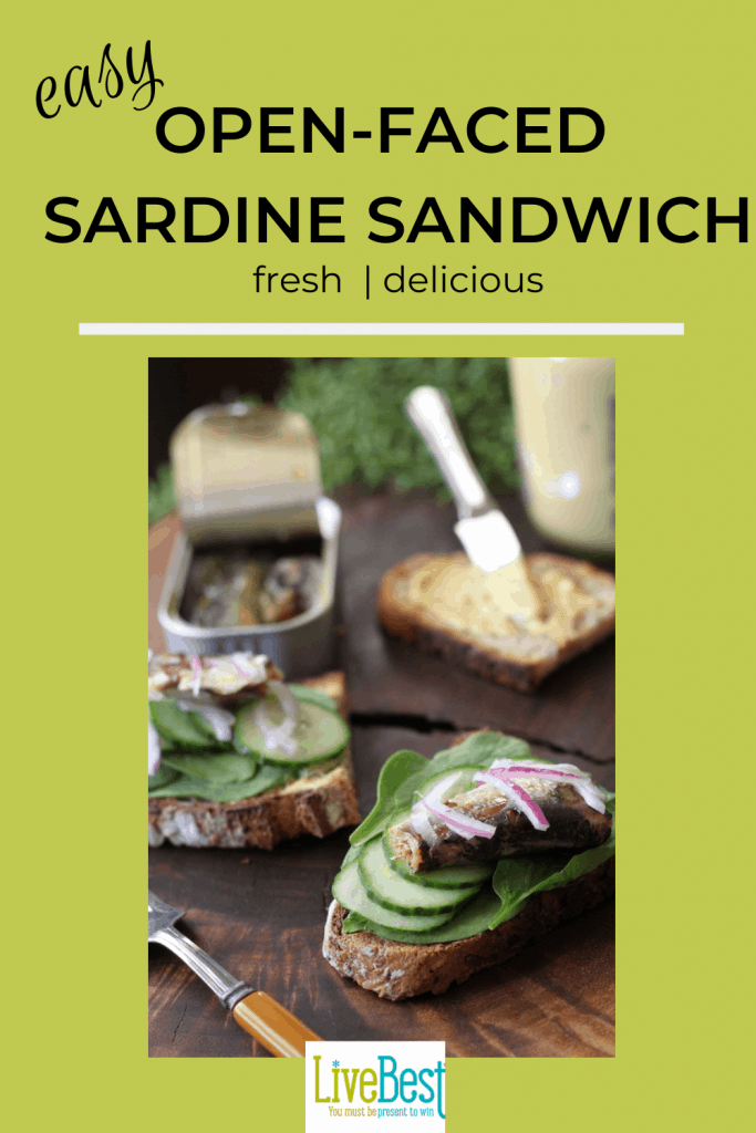 open-faced sardine sandwich layered with spinach, cucumber, sardines and red onion