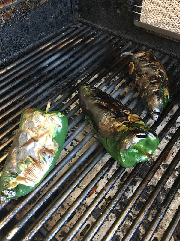 Poblano or passilla peppers on the grill