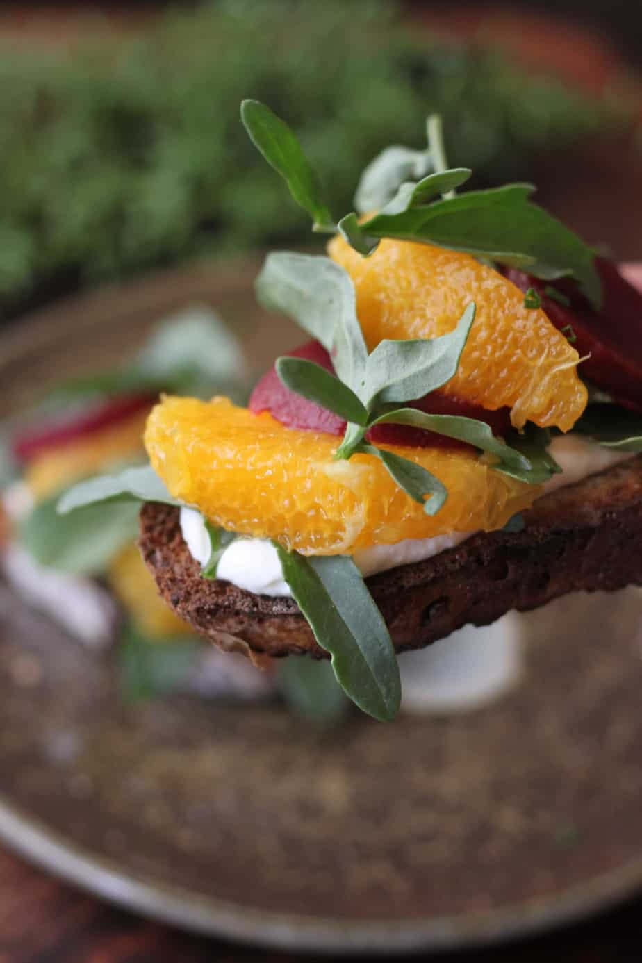 sourdough toast with whipped feta, sliced beets and orange