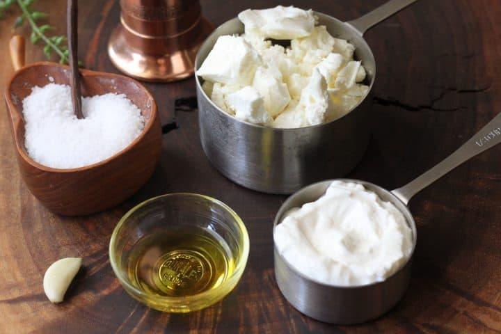 feta, yogurt, olive oil and garlic ready to make whipped feta