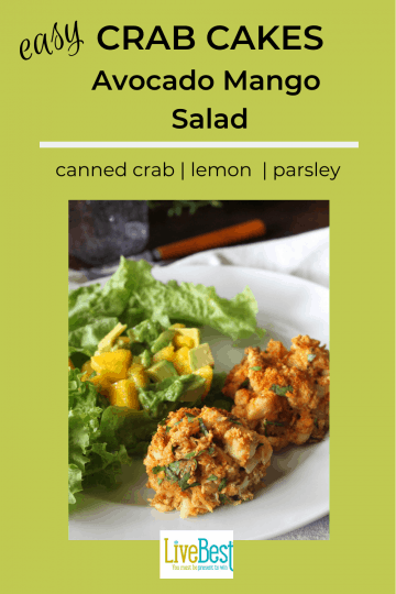 crab cakes with avocado mango salad on a plate